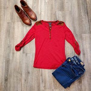 Ralph Lauren Red with suede shoulders shirt